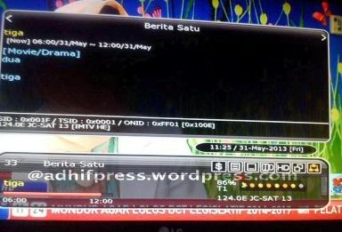 Berita Satu HD di satelit JC Sat 13. (Zemlenk)