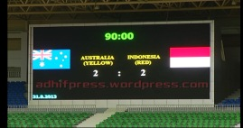 Board Score di Stadion Wunna Theikdi Football. (Adhif)