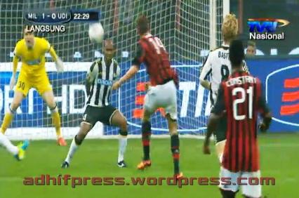 TVRI ketika menayangkan AC Milan vs Udinese. (Adhifpress)